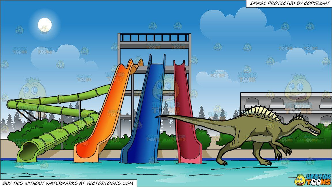 Water park slides clipart graphic free clipart #cartoon A Spinosaurus Dinosaur In Action and Water ... graphic free