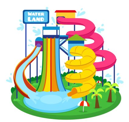 Water park slides clipart graphic royalty free stock 2019的Cartoon illustrator vector material Waterpark | 平面設計 graphic royalty free stock
