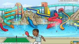 Water pong clipart graphic freeuse stock A Black Man Playing Ping Pong and A Cool Water Park Background graphic freeuse stock