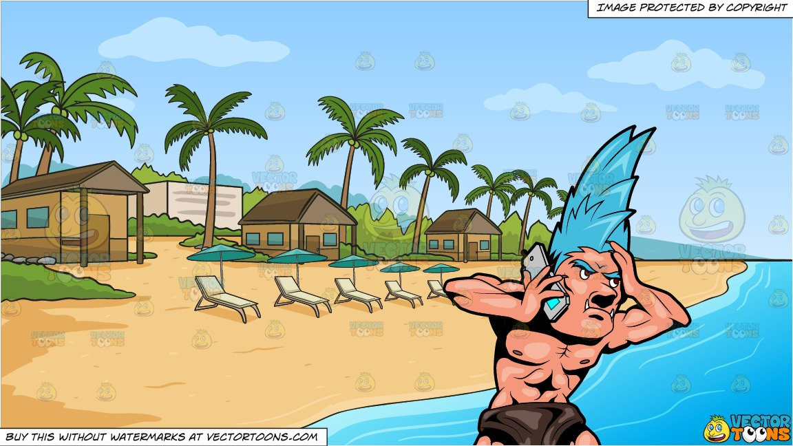 Water source clipart distressed svg library A Distressed Troll Speaking With Someone Over The Phone and A Simple Beach  Front Resort Background svg library