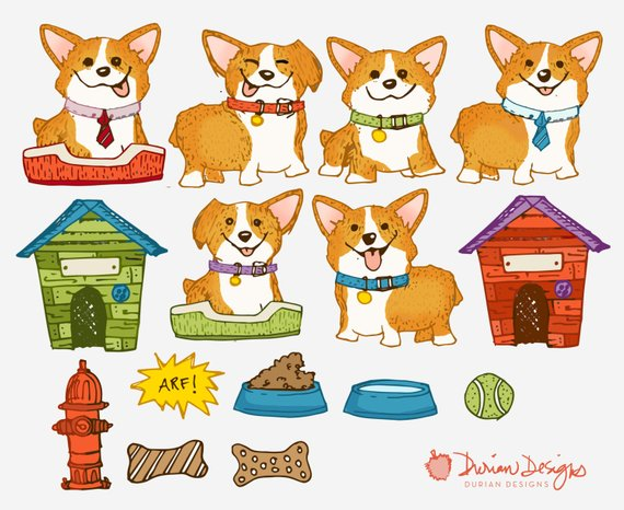 Water use clipart royalty free library Corgi clipart commercial use, cute puppy clip art, dog house ... royalty free library