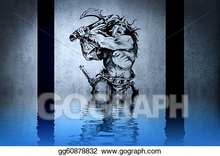 Water warrior clipart free library Clipart - Tattoo warrior in the war on blue wall with water ... free library