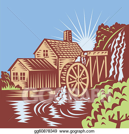 Water wheel mill clipart image royalty free library Vector Art - Water wheel mill house retro. Clipart Drawing ... image royalty free library