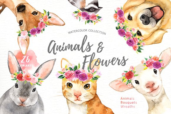 Watercolor animals clipart free Animals & Flowers Watercolor Clipart free