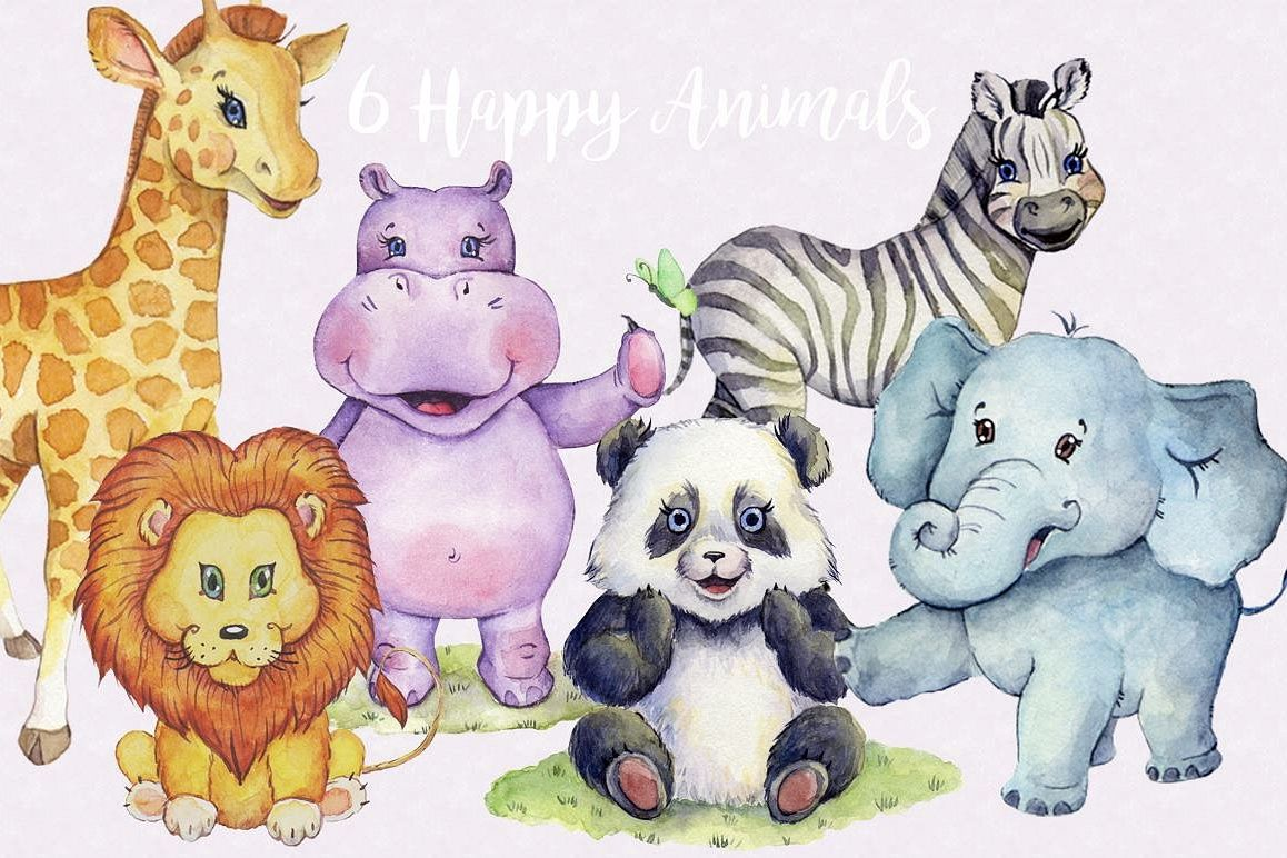 Watercolor animals clipart clip art freeuse Watercolor Animals Clipart Images by Whimseez clip art freeuse