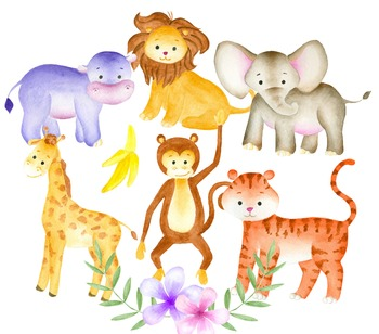 Watercolor animals clipart jpg freeuse download Jungle animals clipart, Watercolor animals, Animal illustration, Zoo jpg freeuse download