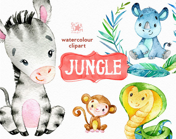 Watercolor animals clipart svg freeuse library Jungle. Watercolor animals clipart, zebra, rhino, snake ... svg freeuse library