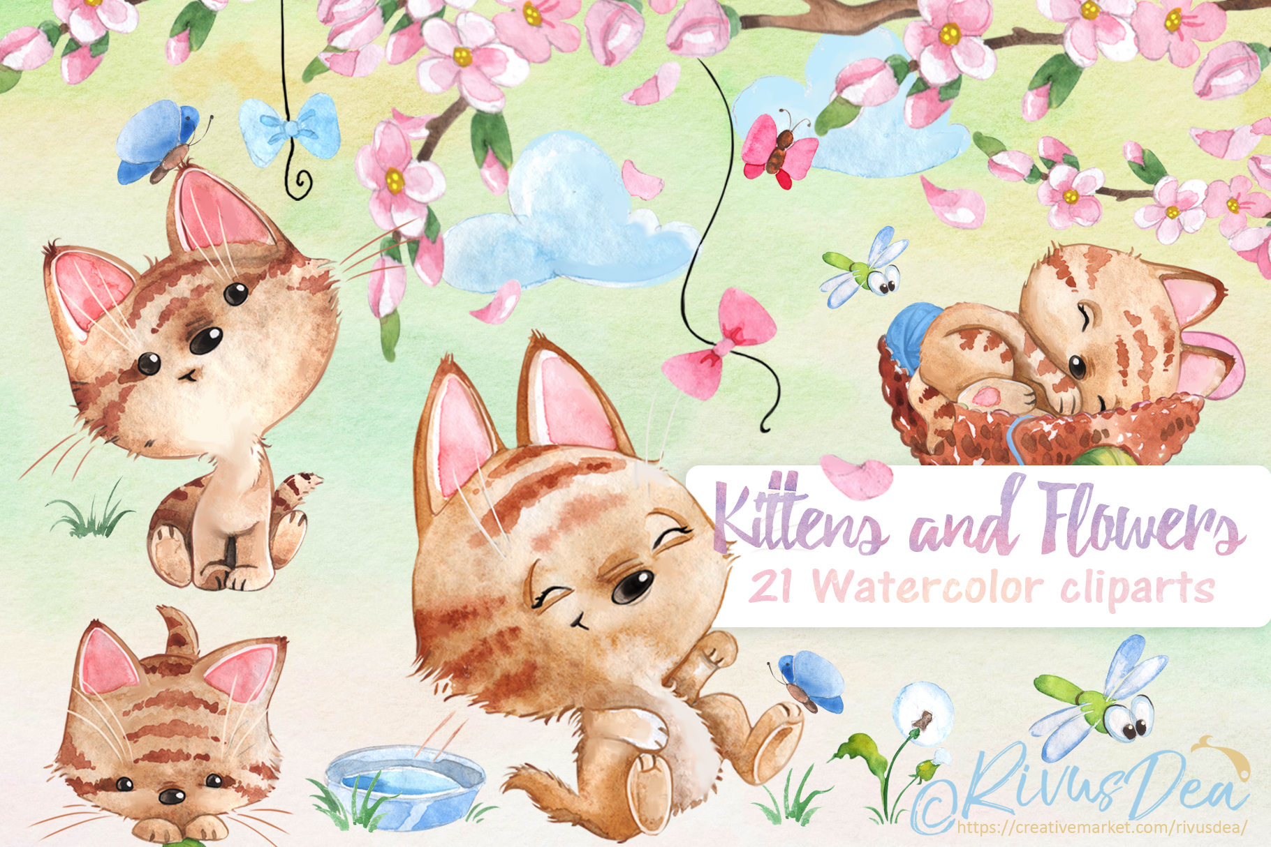 Watercolor animals clipart banner download Watercolor animals clipart set banner download
