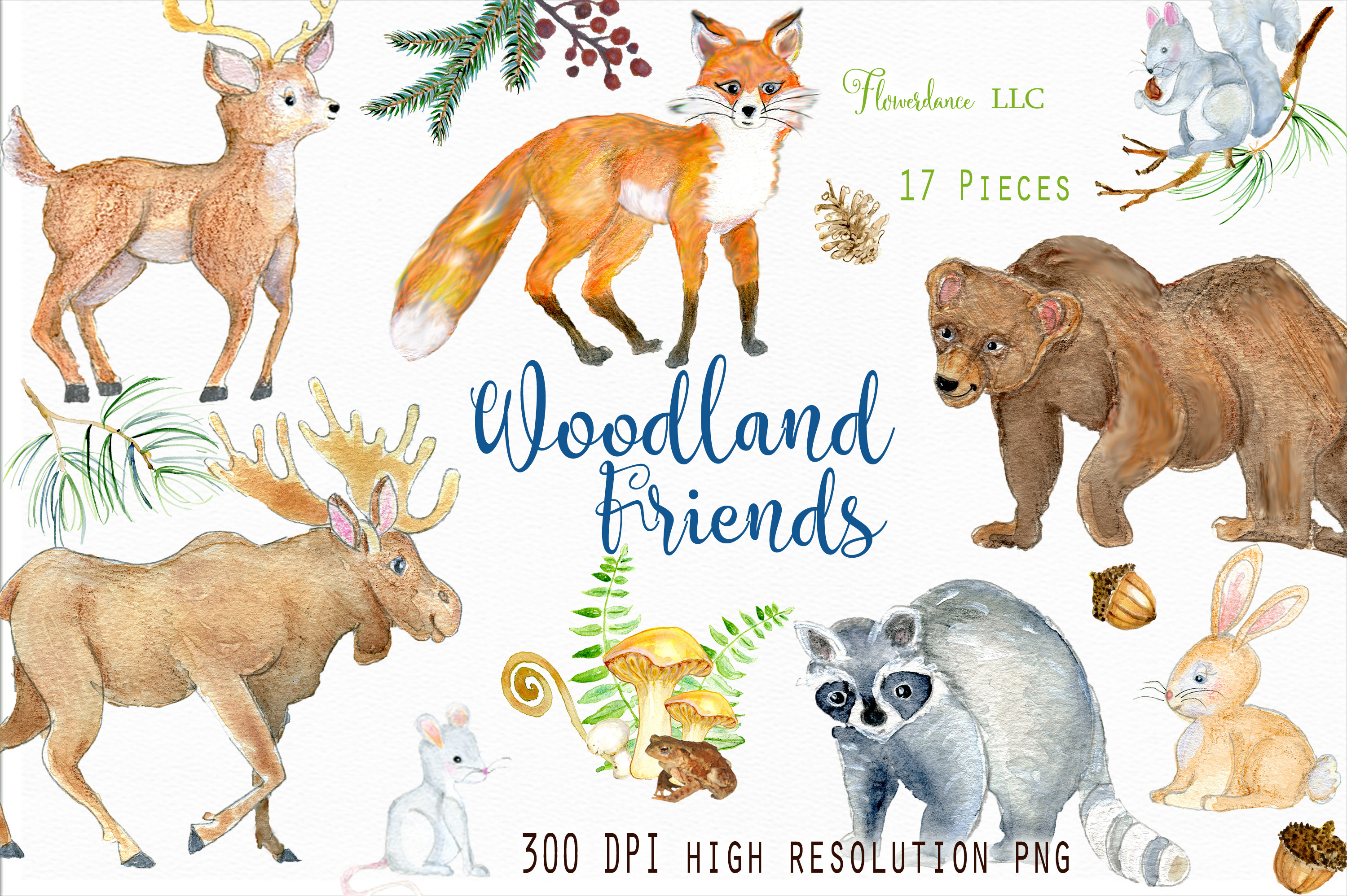 Watercolor animals clipart svg download Watercolor Woodland Animals Clipart svg download