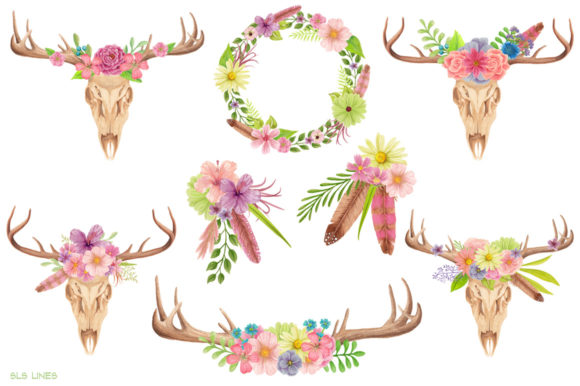 Watercolor antlers clipart vector freeuse library Skull & Deer Antlers Watercolor Clipart vector freeuse library