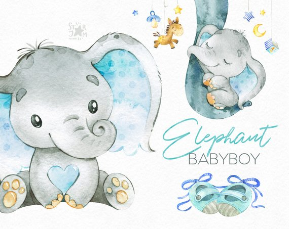 Watercolor baby elephant clipart clip art freeuse Elephant. Babyboy. Watercolor little animal clipart, africa ... clip art freeuse