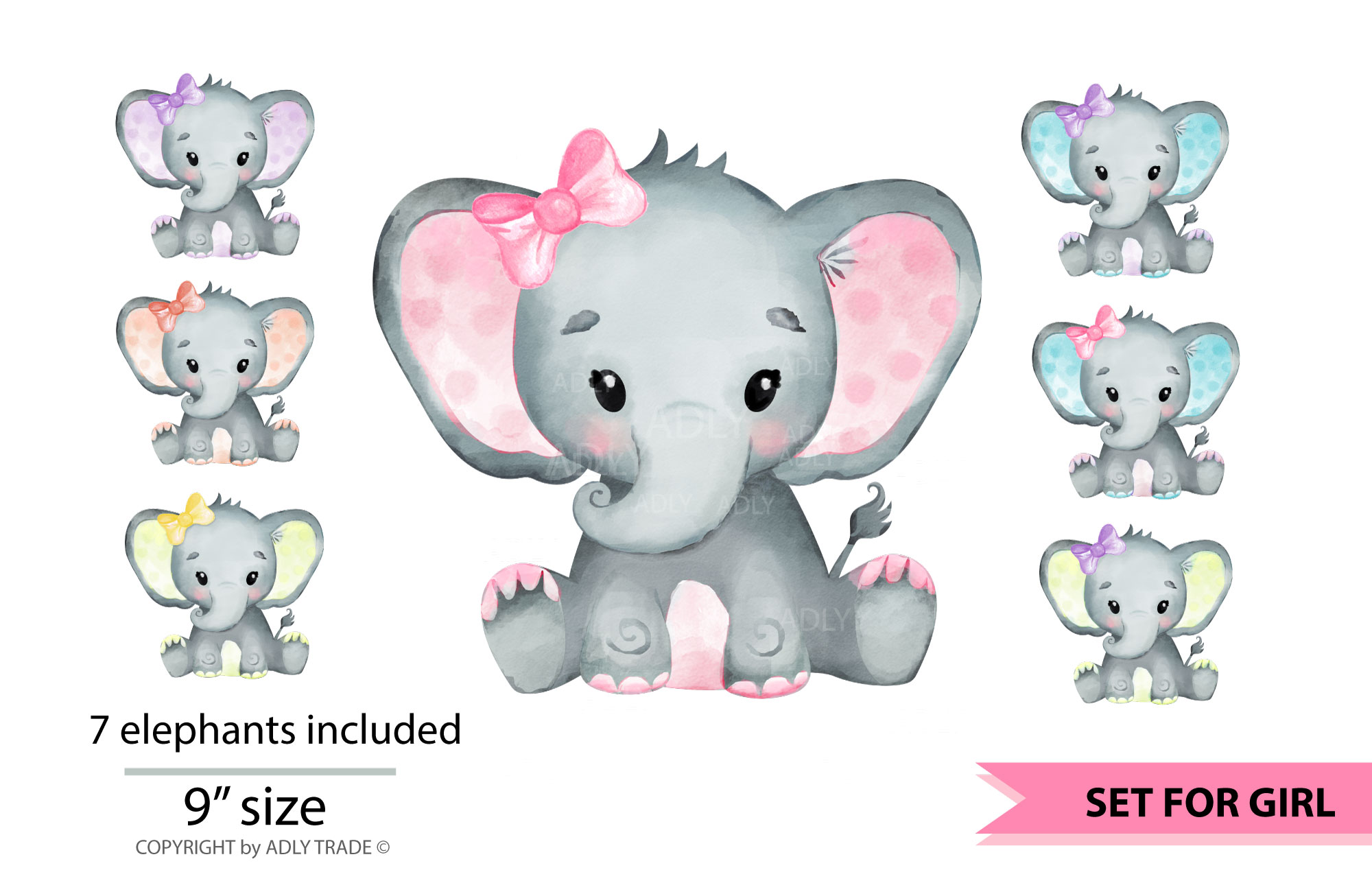 Watercolor baby elephant clipart vector library stock Elephant Girl Watercolor Clipart Set vector library stock