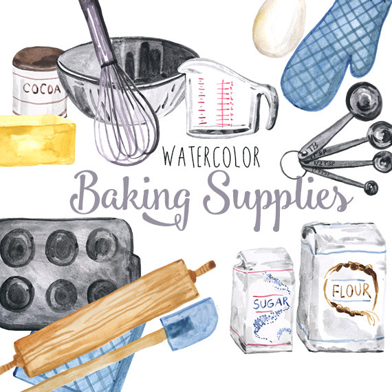 Watercolor baking clipart graphic royalty free Watercolor Baking Supplies, culinary clipart, baking clip ... graphic royalty free