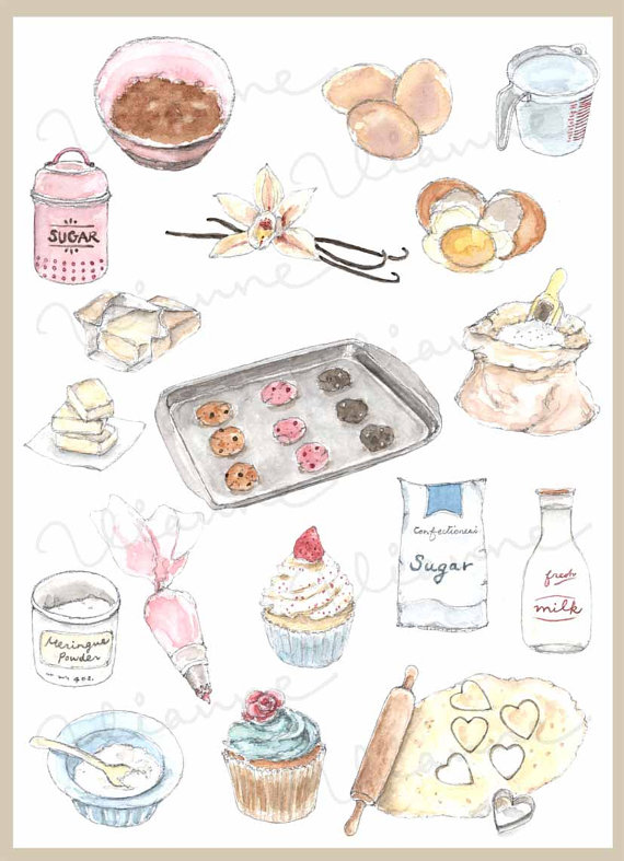 Watercolor baking clipart jpg library library CLIP ART- Watercolor Vintage Baking Ingredients Set. 18 ... jpg library library