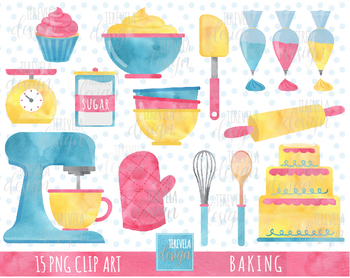 Watercolor baking clipart transparent library BAKING CLIPART, CAKE, CUPCAKE, WATERCOLOR, KITCHEN SUPPLIES transparent library