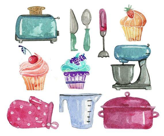 Watercolor baking clipart picture transparent library Baking Clipart Set - clip art set of baking - mixer ... picture transparent library