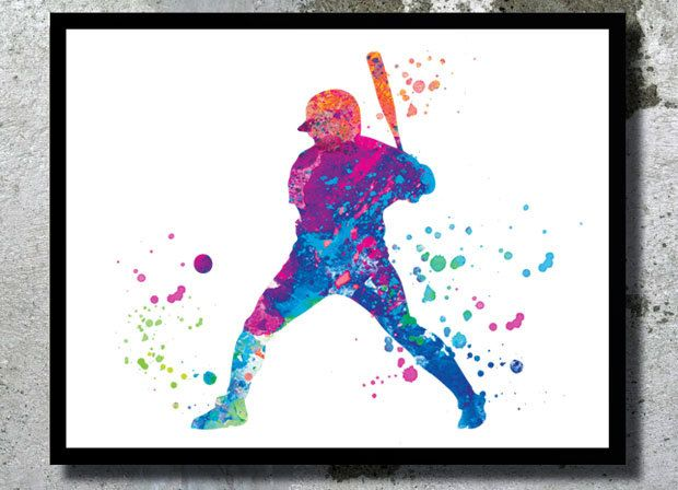Watercolor baseball player clipart svg royalty free stock Baseball Watercolor Art Print Baseball player watercolor ... svg royalty free stock