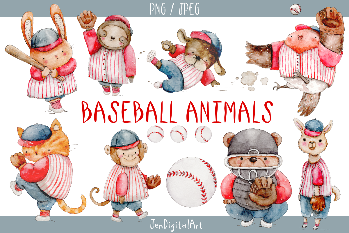Watercolor baseball player clipart picture library download Watercolor Baseball Animals | 9 PNG JPEG Illustrations picture library download