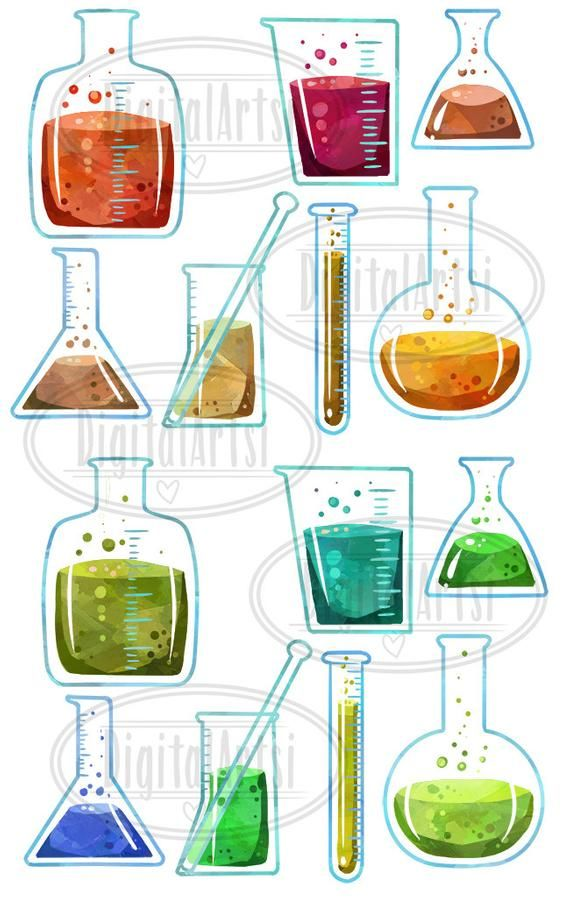Watercolor beaker clipart banner free download Watercolor Science Clipart - Beaker ClipArt - Digital ... banner free download