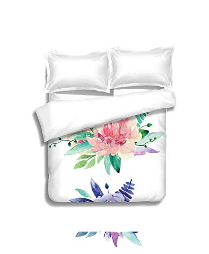 Watercolor bed sheets clipart picture library library Amazon.com: MTSJTliangwan Family Bed Watercolor Floral ... picture library library