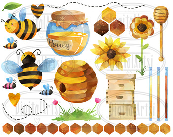 Watercolor bee clipart graphic free Watercolor Bees Clipart graphic free