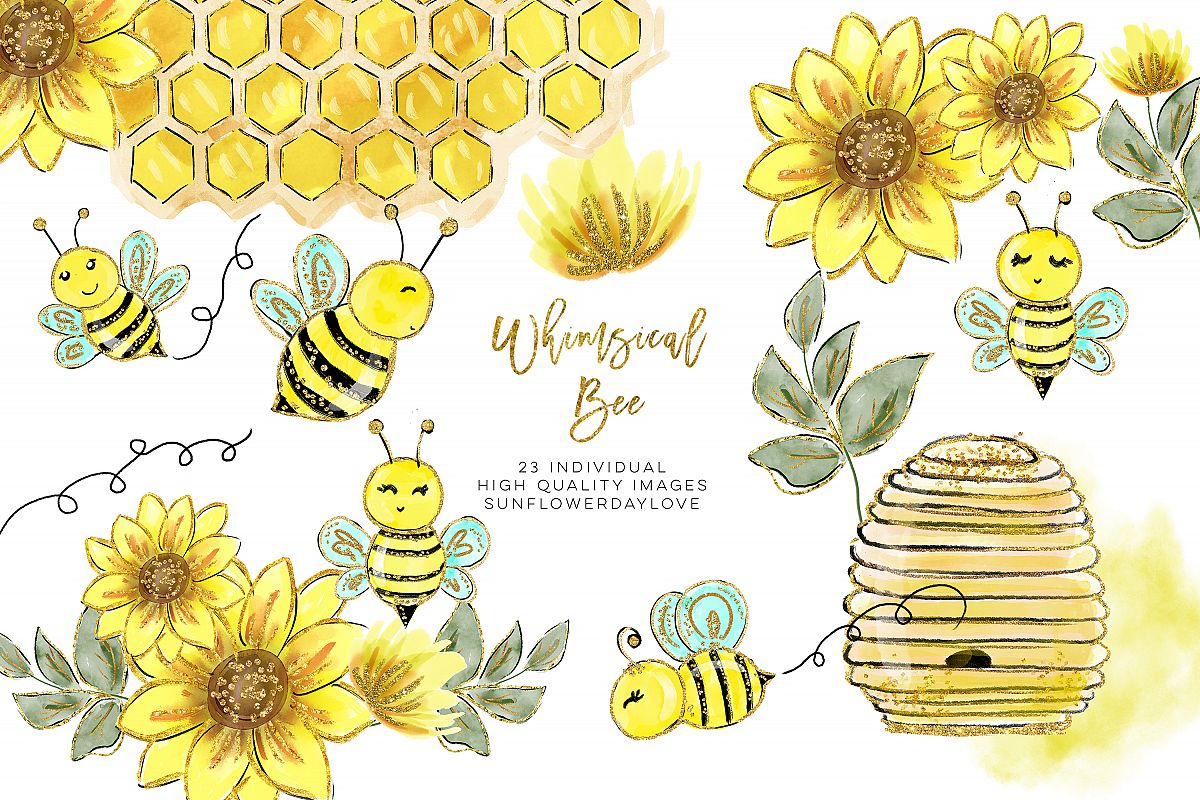 Watercolor bee clipart clip art black and white library Watercolor bee clip art, Watercolor Honey Clipart clip art black and white library