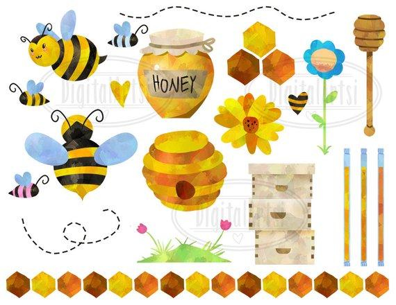 Watercolor bee clipart picture royalty free download Watercolor Honey Bees Clipart - Bee Items Download - Instant ... picture royalty free download