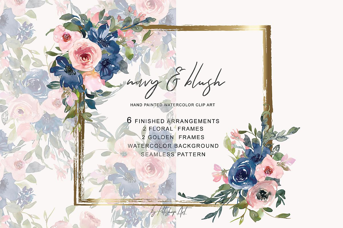 Watercolor blush and navy flowers clipart png transparent stock Watercolor Navy and Blush Floral Bouquet Clipart png transparent stock