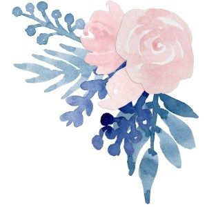 Watercolor blush and navy flowers clipart vector library Watercolor Flower Navy Blue Blush Pink Floral Clip Art ... vector library