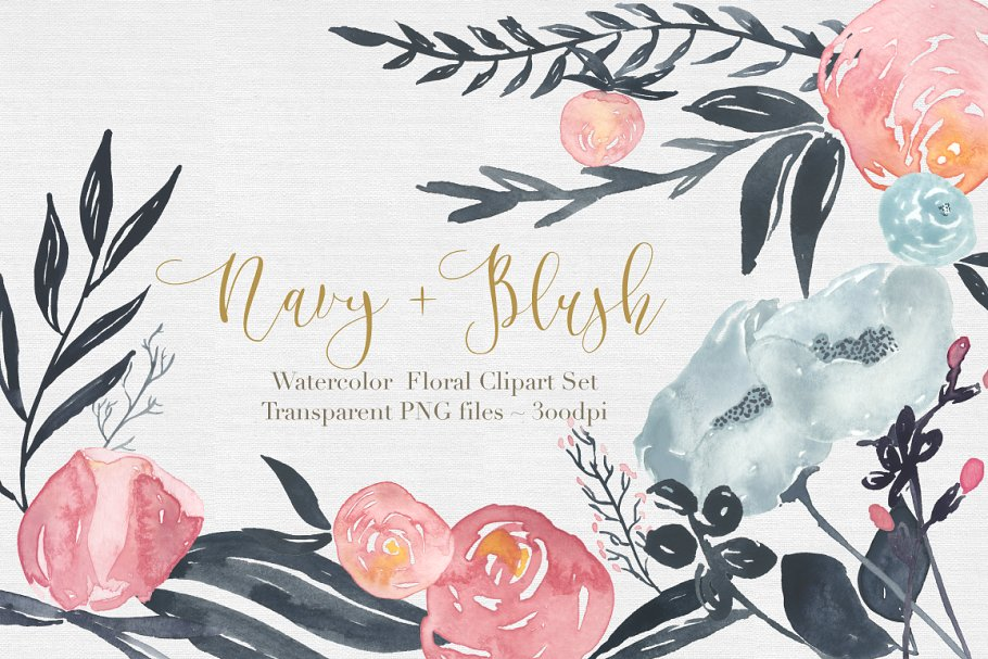 Watercolor blush and navy flowers clipart banner library stock Navy + Blush Watercolor Clipart Set banner library stock