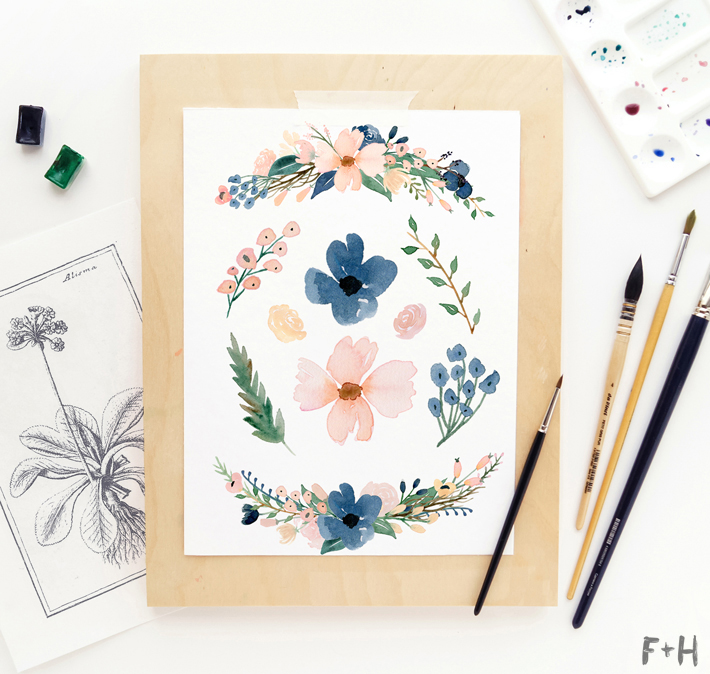Watercolor blush and navy flowers clipart clipart black and white Beautiful Free Watercolor Flowers - Blush & Navy - Fox + Hazel clipart black and white