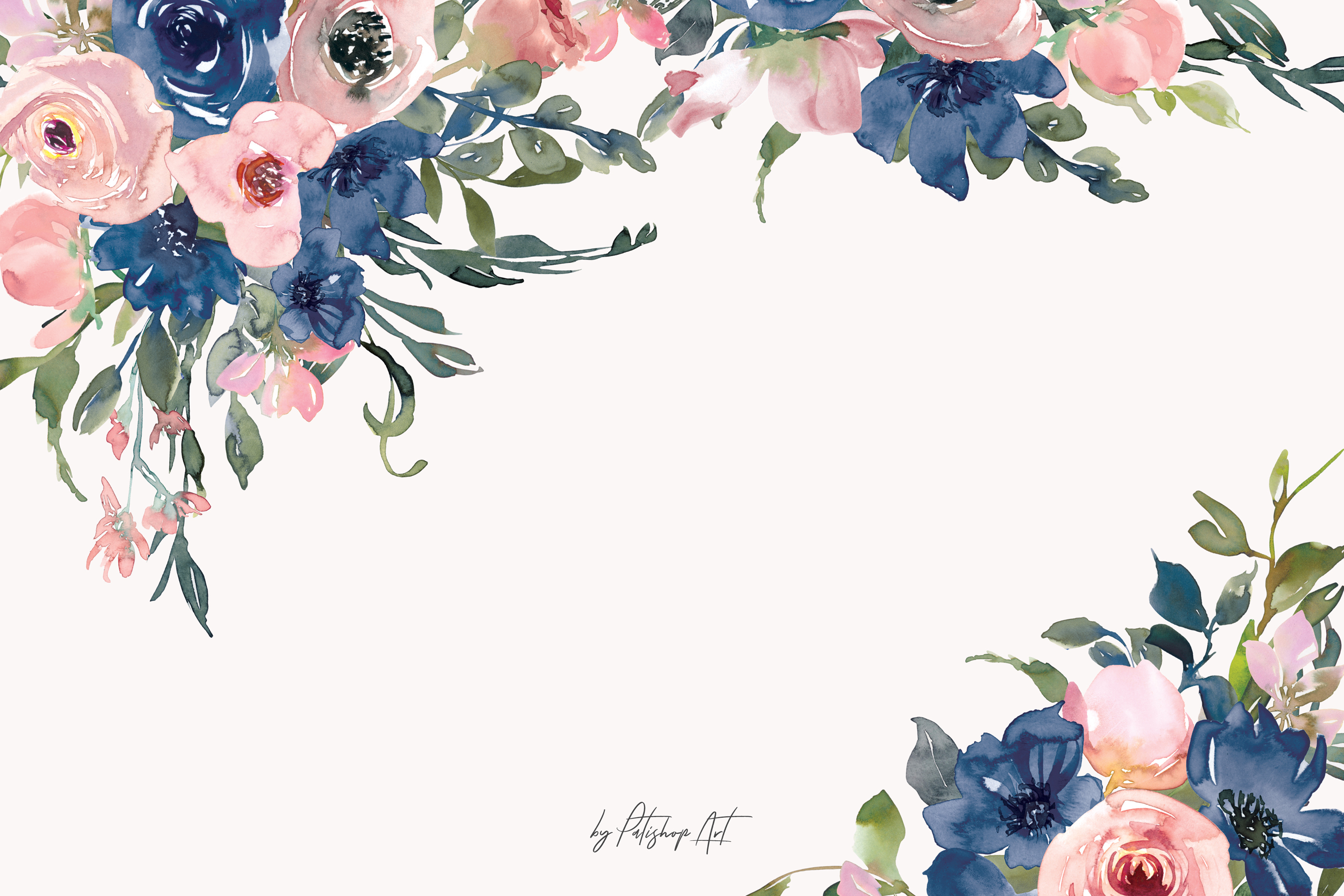 Watercolor blush and navy flowers clipart banner freeuse library Watercolor Navy and Blush Floral Bouquet Clipart banner freeuse library