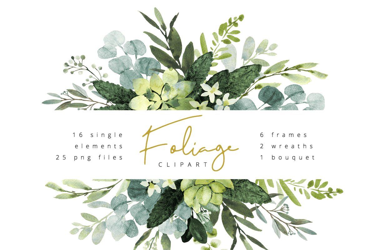 Watercolor boho foliage clipart png stock Foliage watercolor clipart ~ Illustrations ~ Creative Market png stock