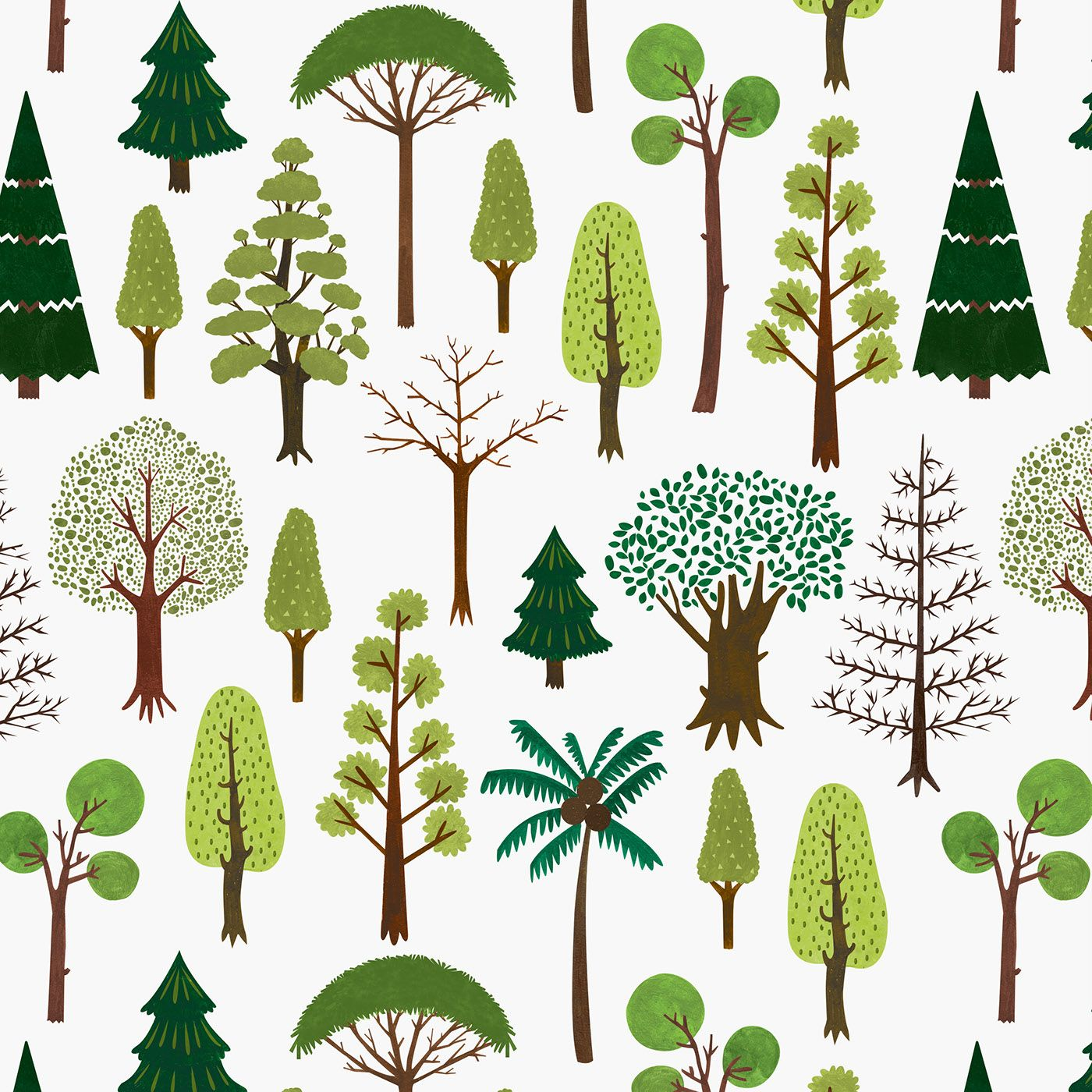 Watercolor bren tree clipart clip royalty free Four Seasons Trees illustration for fabric pattern. All ... clip royalty free