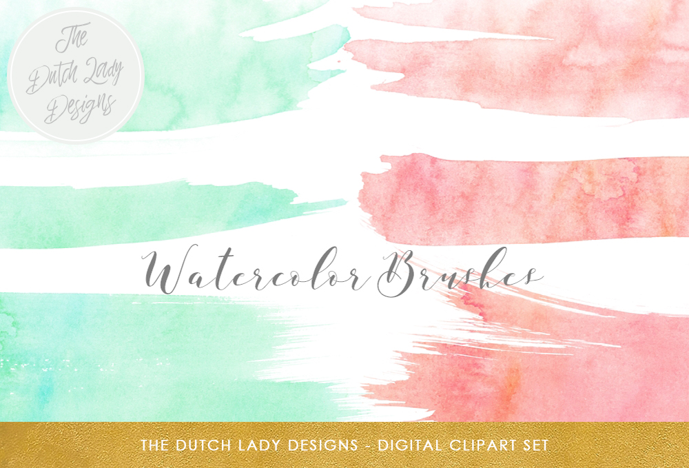Watercolor brush stroke clipart png library stock Watercolor Brush Stroke Clipart - In Peach & Mint png library stock