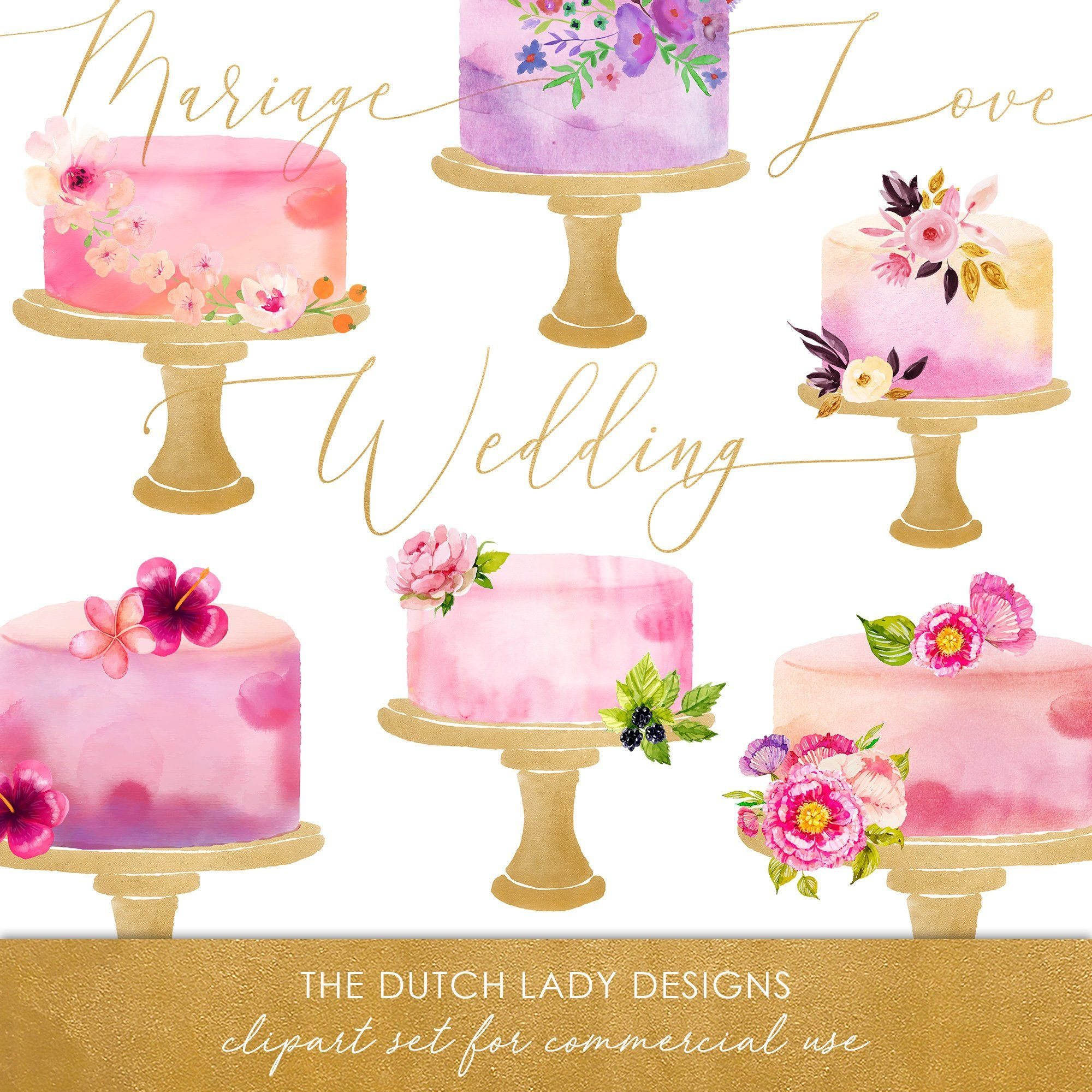 Watercolor cake clipart png svg freeuse download Watercolor Wedding Cake Clipart - In Pink, Purple & Gold ... svg freeuse download