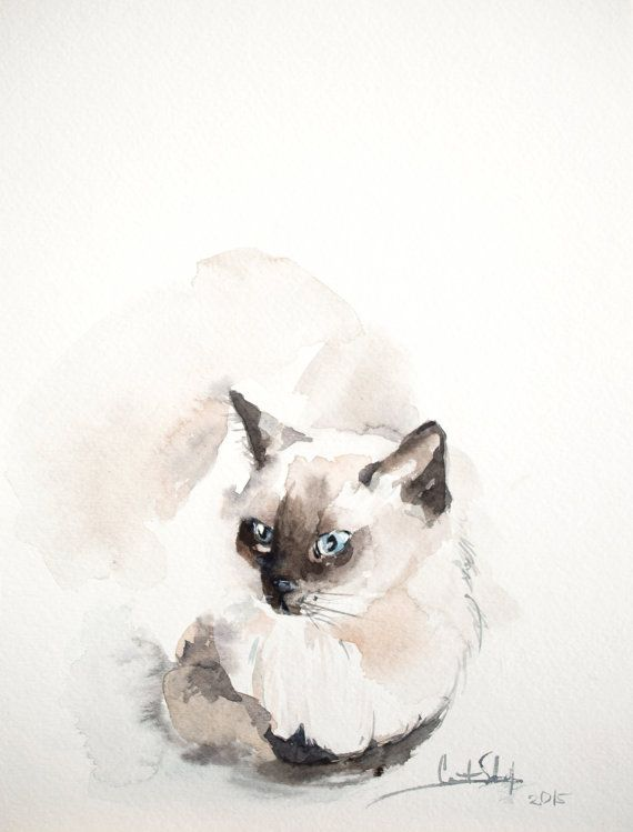 Watercolor chocolate siamese clipart banner transparent library One of a Kind Watercolour Painting by CanotStopPainting ... banner transparent library