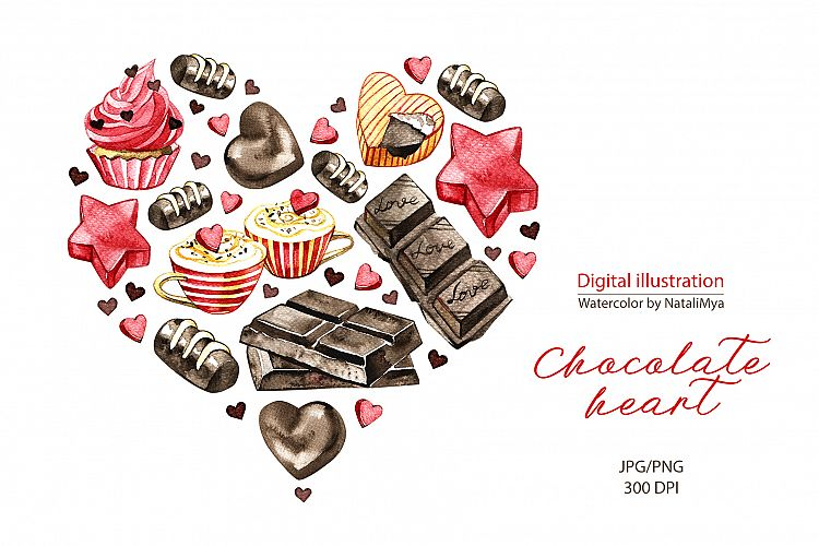 Watercolor chocolate siamese clipart image royalty free stock Watercolor chocolate heart. Digital clipart for printing image royalty free stock