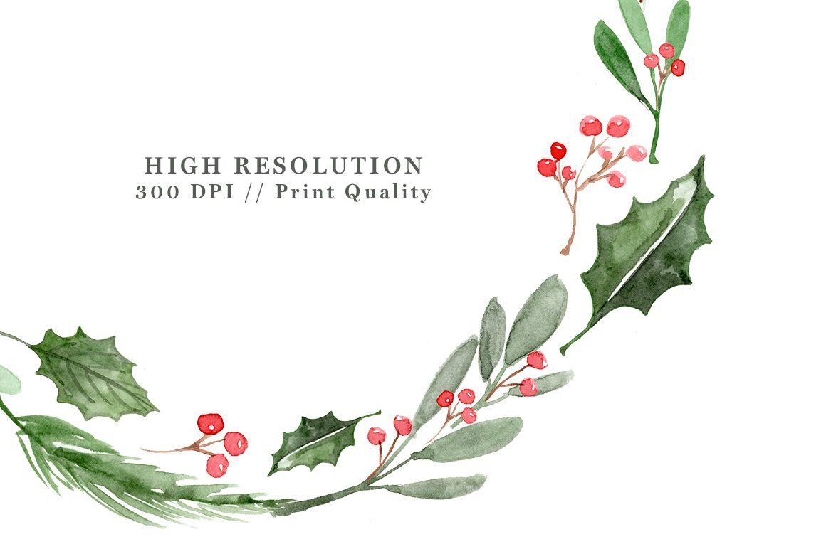 Watercolor christmas wreath clipart clip art transparent download Watercolor Christmas Wreath Clipart, Christmas Card ... clip art transparent download