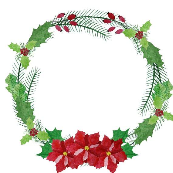 Watercolor christmas wreath clipart clip royalty free download Watercolor Wreath Clipart, Poinsettia Wreath, Christmas ... clip royalty free download