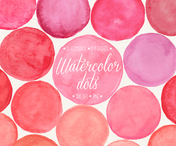 Watercolor circle clipart svg black and white Hand Painted Pink Watercolor Dots, Circles, Splotches Clipart - 15 PNG svg black and white