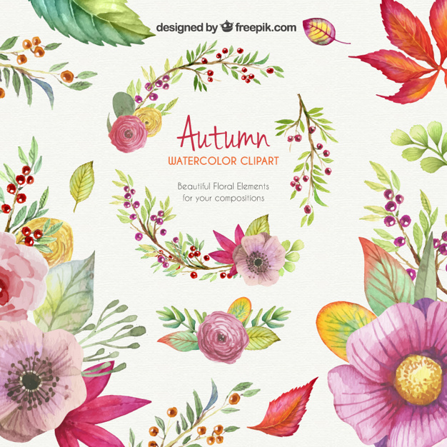 Watercolor clipart clipart freeuse stock Autumn watercolor clipart Vector | Free Download clipart freeuse stock