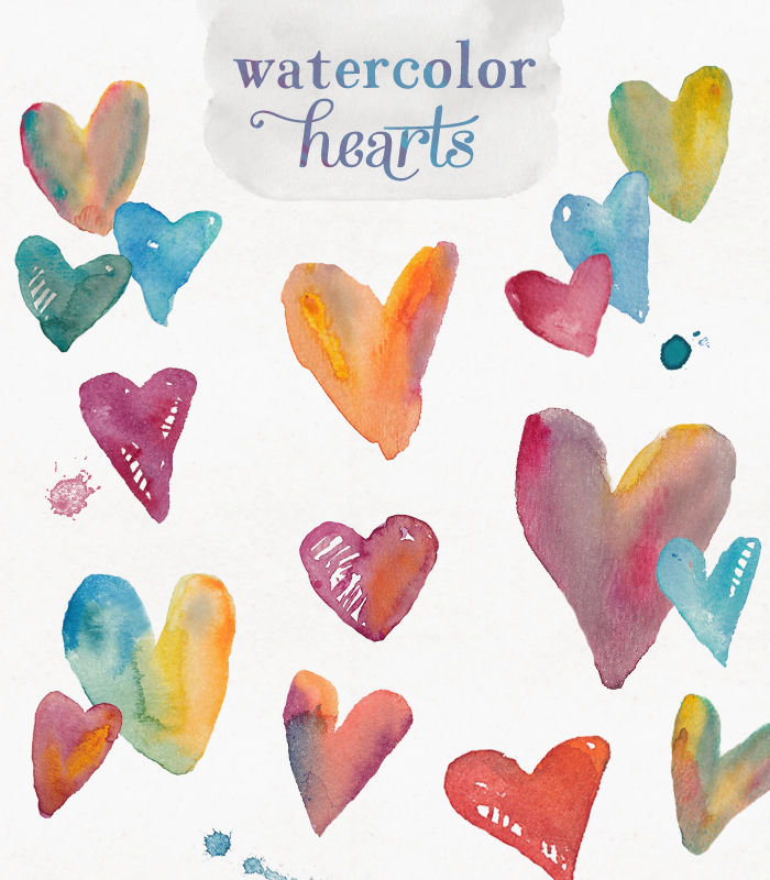 Watercolor clipart clipart black and white Watercolor Hearts Clip Art clipart black and white