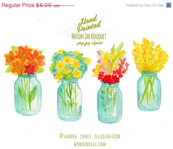 Watercolor clipart graphic stock Clipart SALE Watercolor Clipart - Watercolor Clip Art - Mason Jar ... graphic stock