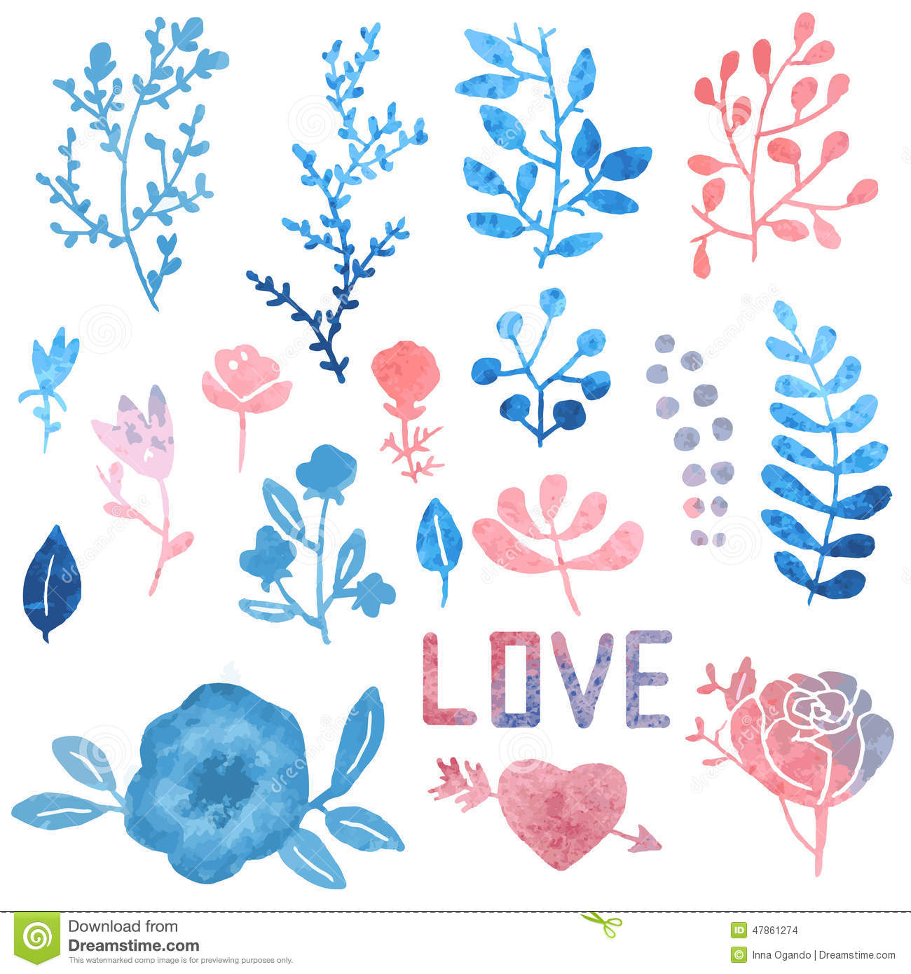 Watercolor clipart clipart black and white library Watercolor Nature Clip Art. Stock Vector - Image: 47861286 clipart black and white library