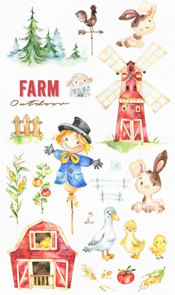 Watercolor clipart barn