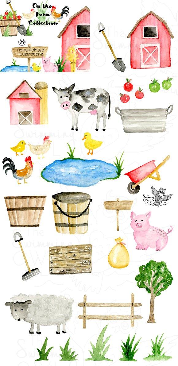 Watercolor farmers market clipart png black and white download Farm Watercolor Clipart png black and white download