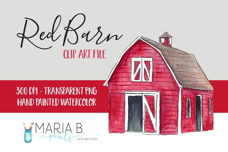Watercolor clipart barn svg royalty free Red Barn Watercolor Clip Art PNG svg royalty free