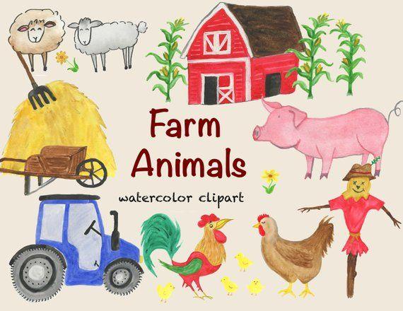 Watercolor clipart barn vector transparent download Watercolor clipart, farm animals, cow, pig, sheep, goose ... vector transparent download