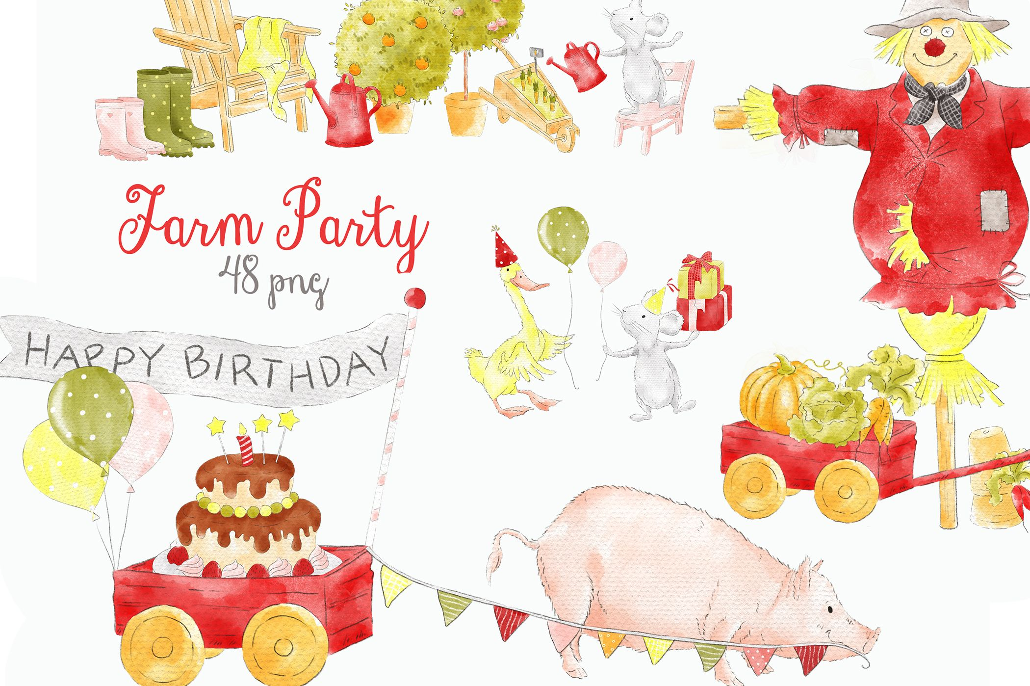 Watercolor clipart barn picture download Farm Party Barnyard Cute Animals Clipart | Design add-on picture download